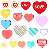 Love Heart icon set / collection,tags,stickers Stock Photos