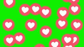 Love heart icon symbol animation across on green screen