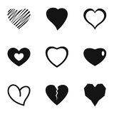 Love heart icons set, simple style. Love heart icons set. Simple set of 9 love heart icons for web isolated on white background Royalty Free Illustration