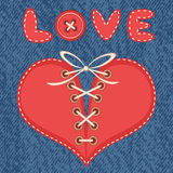 Love and heart with jeans background stock illustration