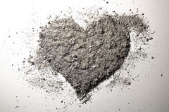 Love heart made of ash Royalty Free Stock Photos