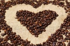 Love heart made of coffee beans Stock Photography