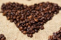 Love heart made of coffee beans Stock Image
