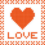 Love Heart Made Out of Pixel Blocks Royalty Free Stock Photography