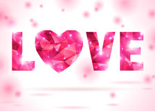 Love and heart made up from pink triangles. Polygonal text. Vector illustration. Pink origami heart. Lights and pink sparkles. Low-poly colorful style. Romantic Royalty Free Stock Photography