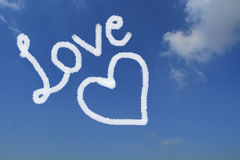 Love and heart made up on sky.  Royalty Free Stock Image