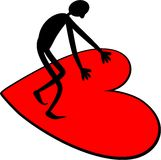 Love Heart Man. A silhouette stick man standing on a large red love heart shape Royalty Free Stock Photos
