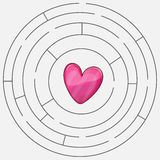 Love heart maze or labyrinth valentines day royalty free illustration