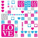 LOVE and heart modern card Stock Images