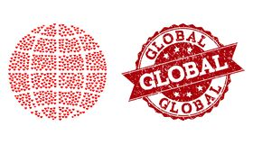 Love Heart Mosaic of Globe Icon and Rubber Watermark stock illustration
