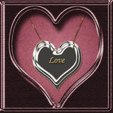 Love heart necklace. In presentation box Stock Photos