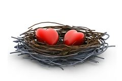 Love heart and nest Royalty Free Stock Photography