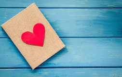 Love heart on notebook Royalty Free Stock Image