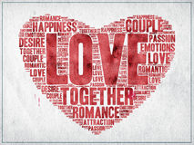 Love heart. Love and other relationship related words written with red ink on paper, inside a heart shape royalty free illustration
