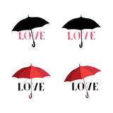 Love heart over umbrella protection. Save love concept set Royalty Free Stock Photo