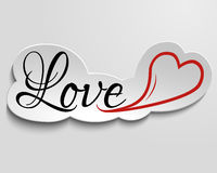 Love and heart on paper. Hand lettering inscription love and heart on paper, 3d effect Royalty Free Stock Photo