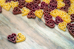 Love heart pasta background Stock Photos