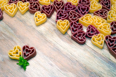 Love heart pasta background Royalty Free Stock Photo