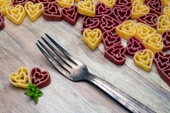 Love heart pasta and fork Royalty Free Stock Photos