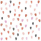Love heart pattern. Pattern of hearts 13 types, 5 colors, hand drawn by brush, on white background. Color red, pink, coral, crimson, black. For love themes Royalty Free Stock Photo