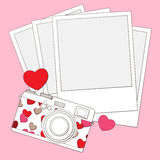 Love and heart photo camera background Stock Photo