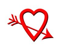 Love heart pierced by arrow Stock Image