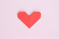 Love heart. On pink paper background Stock Image
