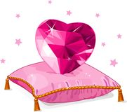 Love heart on the pink pillow Stock Images