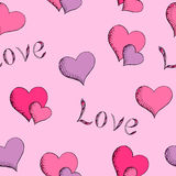Love heart pink red violet graphic art seamless pattern illustration Royalty Free Stock Photos