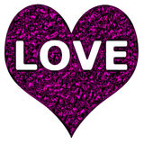 Love Heart Purple Chrome. Purple chrome heart with love wording on an isolated white background with a clipping path Royalty Free Stock Photos