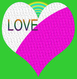 Love and heart with rainbow and green background Royalty Free Stock Photos