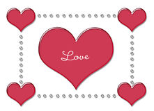 Love Heart Red. Bevelled red heart with 3d effect and the word love stock illustration