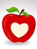 Love heart on red apple Stock Images