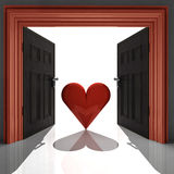 Love heart in red doorway Royalty Free Stock Photography