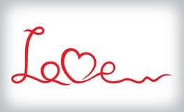Love and heart from red ribbon. Vector illustration of the Love and heart from red ribbon Stock Photo