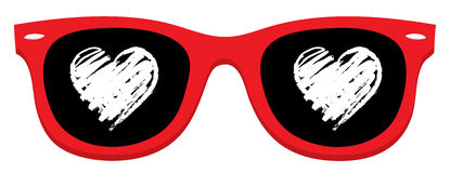 Love heart in Red sunglass Stock Image