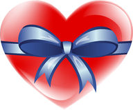 Love heart with ribbon. Illustration of red love heart with blue ribbon and bow, white background Stock Image