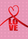 Love and Heart Ribbon Valentines Day Vector Design Royalty Free Stock Photos