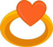 Love heart on ring. 3d illustration of blank orange love heart on ring, white background Stock Photography