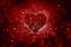 Love heart roses. Love heart explosion with dust particles flying around Stock Photos