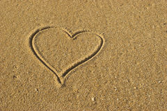 Love Heart on the Sand Stock Photography