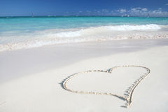 Love:Heart on Sand Beach, Tropical Ocean Royalty Free Stock Image