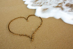 Love Heart on Sand. Royalty Free Stock Photo