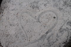 Love heart in the sand Stock Photos