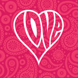 Love heart on seamless paisley background Stock Photography