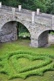 Love heart shape in grass Stock Photo