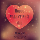 Love heart shape. Happy Valentines card. Lettering and background can be used separately. Typographical design Royalty Free Stock Photos