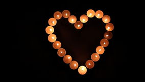Love-Heart shape made of candles stock video