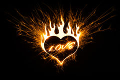 Love in heart shape sparks Stock Images