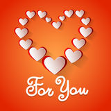 Love Heart Shape Valentine Day Greeting Card For You Stock Photos